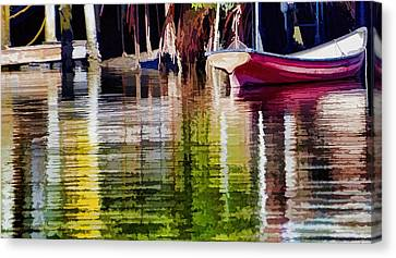 Canvas Print featuring the photograph Little Red Row Boat by Pamela Blizzard