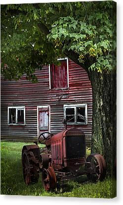 Little Red Tractor Canvas Print by Debra and Dave Vanderlaan