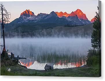 Little Redfish Lake, Snra, Idaho, Red Canvas Print by Michael Qualls
