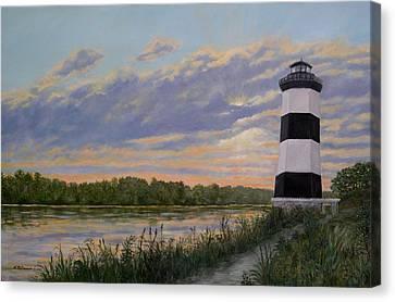 Little River Light 2 Canvas Print by Kathleen McDermott
