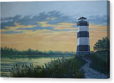 Canvas Print featuring the painting Little River Light One by Kathleen McDermott