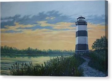 Little River Light One Canvas Print by Kathleen McDermott
