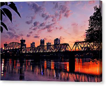 Little Rock Bridge Sunset Canvas Print by Mitchell R Grosky