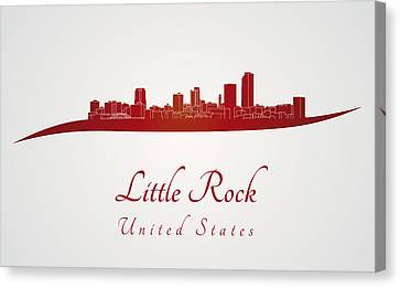 Little Rock Skyline In Red Canvas Print by Pablo Romero