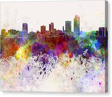 Little Rock Skyline In Watercolor Background Canvas Print by Pablo Romero