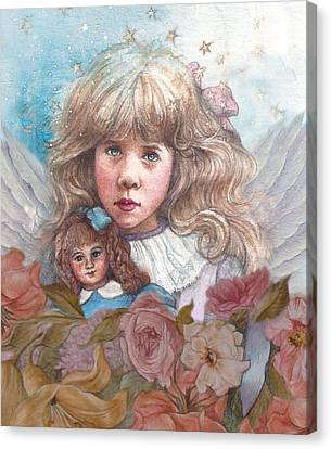 Canvas Print featuring the painting Little Rose Angel by Judith Cheng