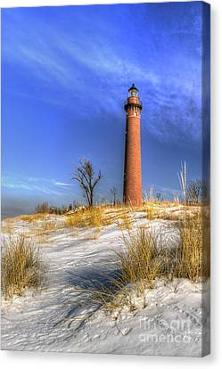 Little Sable Lighthouse Winter Canvas Print by Twenty Two North Photography