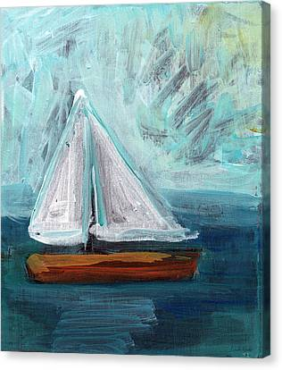 Little Sailboat- Expressionist Painting Canvas Print by Linda Woods