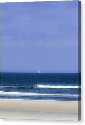 Little Sailboat On Calm Sea Canvas Print