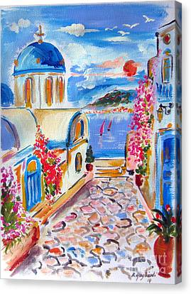 Little Santorini Alley Canvas Print by Roberto Gagliardi