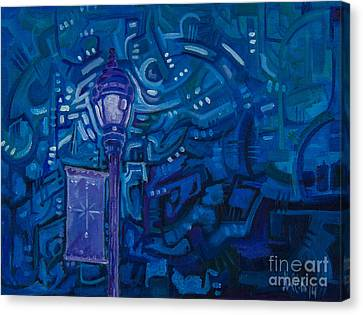 Canvas Print featuring the painting Little Silver Night Light by Michael Ciccotello