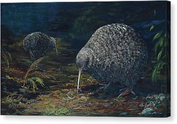 Little Spotted Kiwi Canvas Print by Peter Jean Caley
