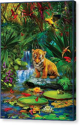 Canvas Print featuring the drawing Little Tiger by Jan Patrik Krasny