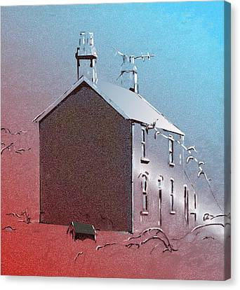 Canvas Print featuring the digital art Little Welsh House by Gillian Owen