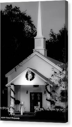 Little White Church Bw Canvas Print