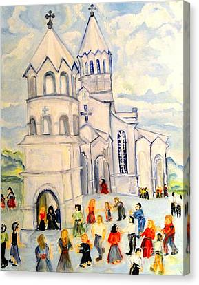Little White Church Ghazanchetsots Cathedral Karabagh Armenia Canvas Print by Helena Bebirian