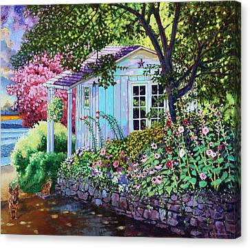 Little White Garden Shed Canvas Print by John Lautermilch