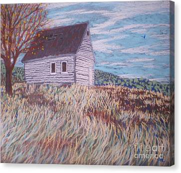 Canvas Print featuring the painting Little White House On The Hill by Suzanne McKay