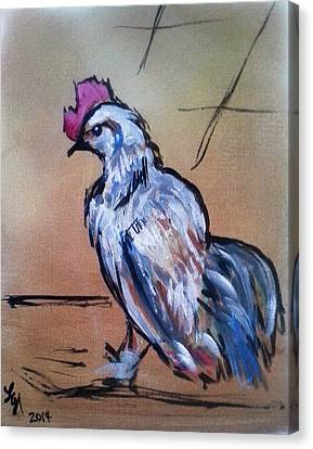 Little White Rooster Canvas Print by Loretta Nash