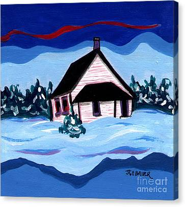 Canvas Print featuring the painting Little White Schoolhouse by Joyce Gebauer