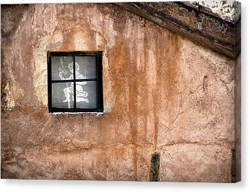 Little Window With Net Curtain On An Old House Canvas Print by RicardMN Photography