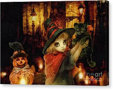Little Witch Black Cat And Pumpkin Canvas Print by Mo T
