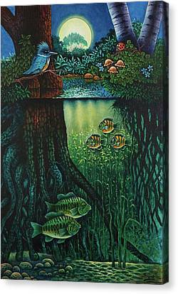 Canvas Print featuring the painting Little World Chapter Kingfisher by Michael Frank