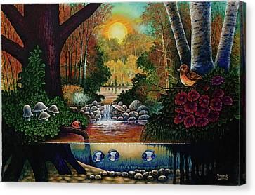 Canvas Print featuring the painting Little World Chapter Sunset by Michael Frank