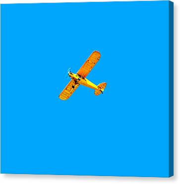 Canvas Print featuring the photograph Little Yellow Flyer Plane by Tracie Kaska
