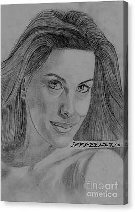 Canvas Print featuring the drawing Liv Tyler by Jeepee Aero