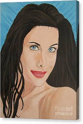 Canvas Print featuring the painting Liv Tyler Painting Portrait by Jeepee Aero