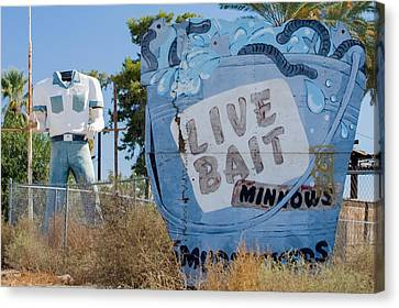 Live Bait Sign And Muffler Man Statue Canvas Print by Scott Campbell