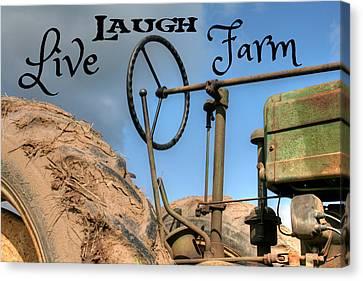Live Laugh Farm Tractor Canvas Print