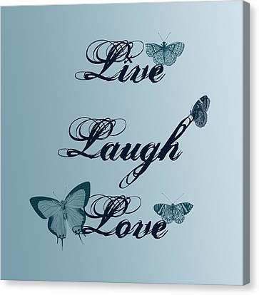 Live Laugh Love Butterflies Canvas Print by P S