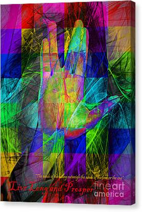 Live Long And Prosper 20150302v2 Color Squares With Text Canvas Print by Wingsdomain Art and Photography