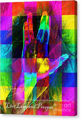 Live Long And Prosper Spock 20150302v3 Color Squares With Text Canvas Print by Wingsdomain Art and Photography