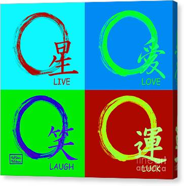 Live Love Luck Laugh Canvas Print by To-Tam Gerwe