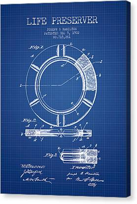 Lifebelt Canvas Print - Live Preserver Patent From 1902 - Blueprint by Aged Pixel