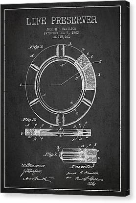 Lifebelt Canvas Print - Live Preserver Patent From 1902 - Charcoal by Aged Pixel