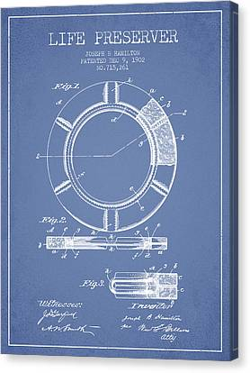 Lifebelt Canvas Print - Live Preserver Patent From 1902 - Light Blue by Aged Pixel