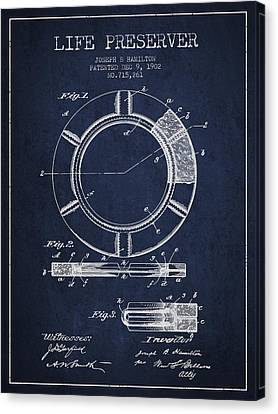 Lifebelt Canvas Print - Live Preserver Patent From 1902 - Navy Blue by Aged Pixel
