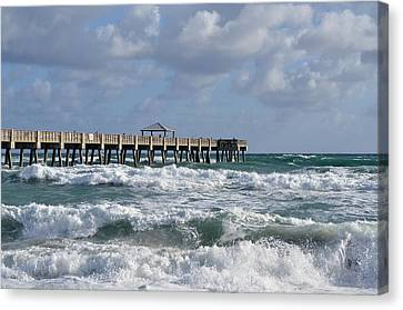 Lively Surf At Juno Canvas Print by Laura Fasulo