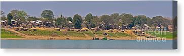 Bamboo House Canvas Print - Living Along The Irrawaddy River by Beth Wolff