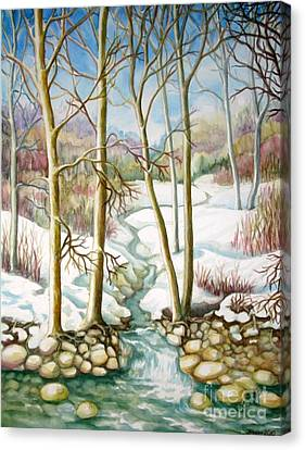 Canvas Print featuring the painting Living Creek by Inese Poga