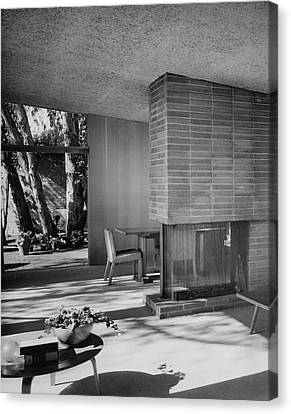 Living-dining Room By Carl Louis Maston Canvas Print by Julius Shulman