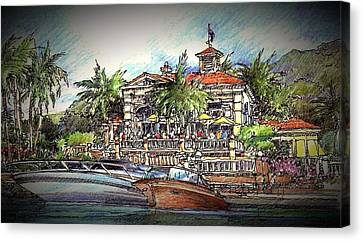 Canvas Print featuring the drawing Living Port by Andrew Drozdowicz