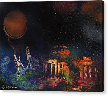 Mayan Mythology Canvas Print - Adam And Eve Find The Temple by Mike Cicirelli