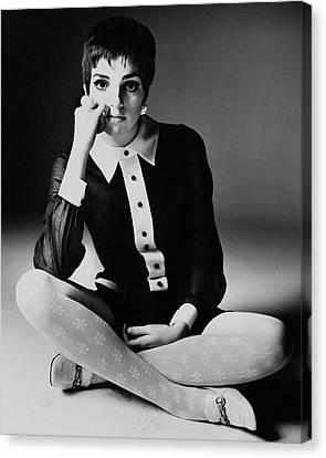 Liza Minnelli Wearing A Joan Arkin Dress Canvas Print by Bert Stern
