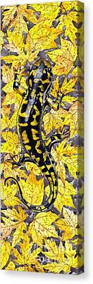 Canvas Print featuring the painting Lizard In Yellow Nature - Elena Yakubovich by Elena Yakubovich