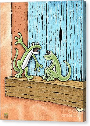 Canvas Print featuring the drawing Lizard Lore by Cristophers Dream Artistry